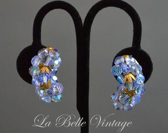 50s Blue Crystal Earrings Vintage Beaded Glass Climbers