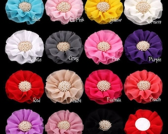 """4"""" 15colors Big Ruffled Chiffon Flowers+Pearl Centre For Baby Girls Hair Clips Accessories Artificial Fabric Flowers For Headbands"""
