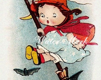 Digital download*Halloween littlest witch*Wonderful*Great*Use in decoupage, collage,sewing.ornaments