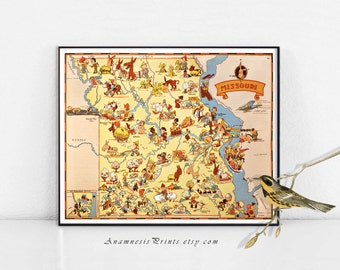MISSOURI MAP PRINT - vintage pictorial map to frame - gift idea - illustrated by Ruth Taylor White - vintage map art home decor - wall art