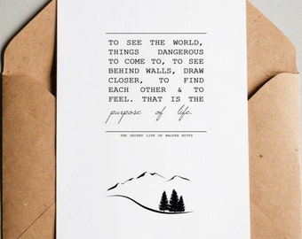"""Printable 5x7, 8x10 Secret Life of Walter Mitty Quote - """"To See the World...Purpose of Life"""" with Mountains, Trees - Instant Download"""