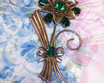 Broche Vintage Fleur Strass vert, grand Sterling en argent Vermeil Pin, déco années 40