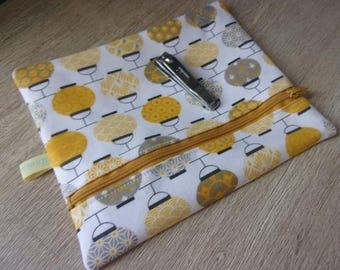 """Toiletries/cosmetics bag, case/cover, """"slots"""" yellow tones and Asian style fabrics"""