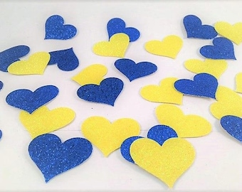 Blue and Yellow Heart Table Confetti - Blue Confetti - Yellow Confetti - Confetti - Table Confetti - Blue - Yellow - Heart - Glitter