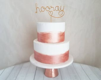Hooray Wire Cake Topper - Rustic Cake Topper - Wire Cake Topper - Wedding Cake Topper - Rustic Chic - Copper Cake Topper - Gold Cake Topper