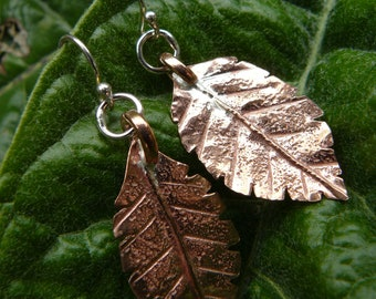 Handforged copper leaf earrings
