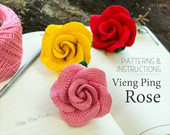 Crochet Rose PATTERN - Vieng Ping Rose - Easy Crochet Flower Pattern - Rose Applique Pattern - INSTANT DOWNLOAD