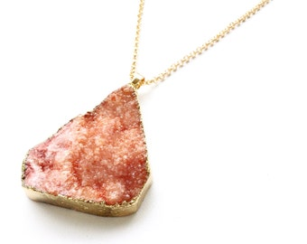 BLAIR Red Orange Druzy Necklace. FAST Shipping w/ Tracking for US Buyers. Will Arrive to you in a Gift Box w/ Ribbon.