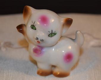 Miniature Japan Cat Figurine Vintage Kitty Raised Paw Pink Flower Figurine Hand Painted Mini Kitten Figurine Cat Lover Gift Mothers Day Gift