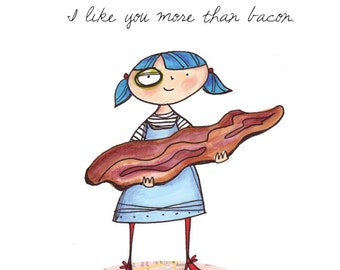 Bacon Love Blank Card