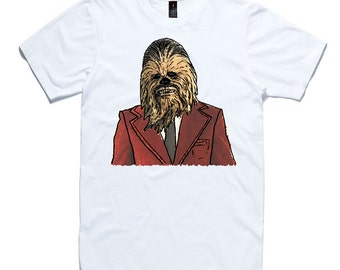 Chewbacca In A Suit T-Shirt by RockPaperHeart in white Star Wars sketch art chewy