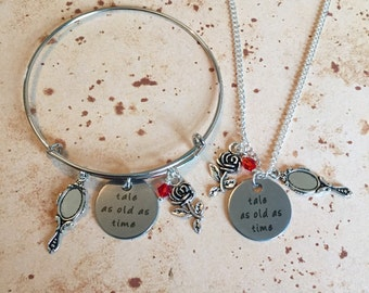 Tale as old as time - Charm Necklace, Bangle or Keyring