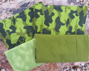 Set of 2 Green Camo Burp Cloths