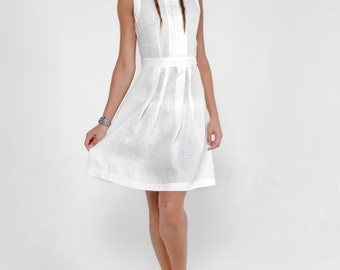 100% Linen Boat Neck Dress with Pleats and Waist Tie in White by Claudio Milano- Style 8311