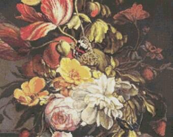 Flower Cross Stitch Chart, Flowers Still Life with Butterfly Cross Stitch Pattern PDF, Art Cross Stitch, Embroidery Chart