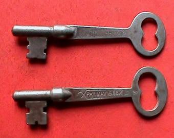 2 antique flat skeleton keys, Late 1800s Patented May 16 1888