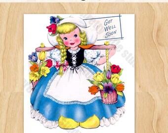 Digital | Dutch Girl in Blue Dress Basket of Tulips | 2 Images Back and Front | Vintage Digital Image Download Greeting Card 1940's
