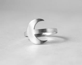 Crescent Moon Ring in Sterling Silver