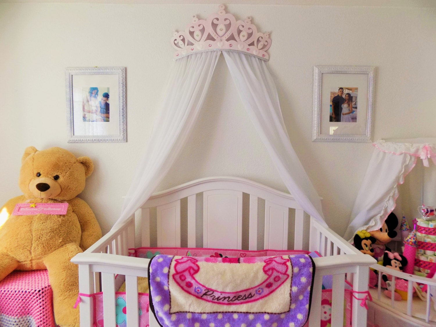 ?zoom & Crib Canopy Bed Crown Pink Princess Wall Decor