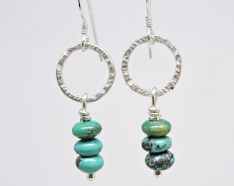 Beaded Turquoise Earrings, Sterling Silver earrings, Hammered Sterling Silver Earrings, Gift for her, Everyday Earrings, Artisan Made