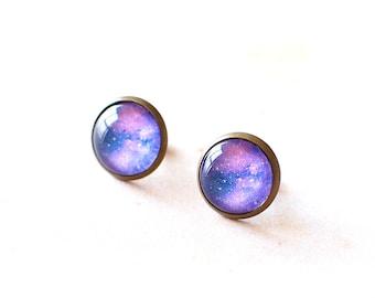 Purple Galaxy Earrings. Space Earrings. Universe Earrings. Glass Dome Earrings. Galaxy Stud Earrings. Space Post Earrings. Galaxy Jewelry.