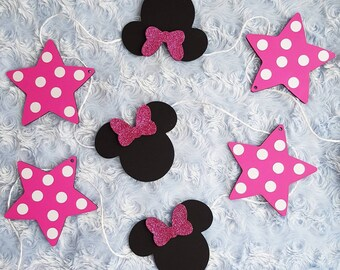 Disney Minnie Mickey Mouse Bunting Garland Nursery Decor Kids Bedroom Children Room Decoration Ornament