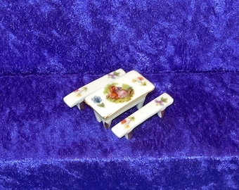 Limoges 4-pc. Miniature Hand-painted Porcelain Dollhouse Furniture Set.  Made in France – Signed.  Item #D526.