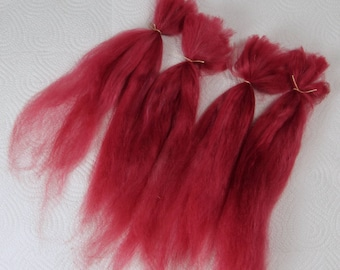 """Suri Alpaca Doll Hair dyed and combed locks, russet red, Batik, 7- 10"""" for reroot and BJD doll wigmaking"""