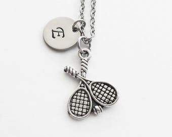 Tennis Necklace, Tennis Racquet, Doubles Sport, Tennis Player Gift, Sports Jewelry, Silver Initial Personalized Monogram Hand Stamped Letter