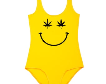 Smile Bodysuit Leotard Top Womens Ladies T Shirt Tumblr Hipster Grunge Retro Vtg Festival Swag  Drugs Weed Cannabis Yellow Smiling Face