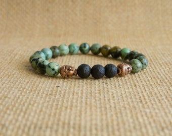 African Turquoise Essential Oil Diffuser Bracelet/Aromatherapy Bracelet/Gemstone & Lava Rock Bracelet