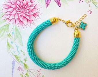 Bead crochet bracelet teal