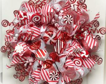 Candy Christmas Wreath, XL Christmas Wreath, Candy Christmas Decor, Christmas Door Decor