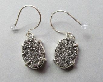Silver Druzy Geode Cluster Earrings set in .925 Sterling Silver ~ Free ship in the US!