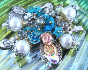 Catholic Virgin Mary Our Lady of Miraculous Medal Religious Medals Charm Bracelet, Pulsera Virgen Maria, Catolica