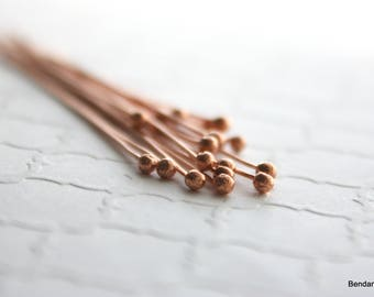 20 Handmade Copper Headpins , Ball End , 22 Gauge , Handmade Jewelry Supplies