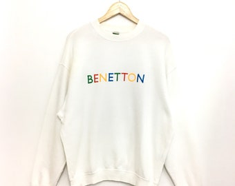 Rare!! Vintage BENETTON SweatShirt Embroidery Spellout Multicolor Small Size