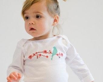 Bird In Blossom - Long sleeve toddler t-shirt