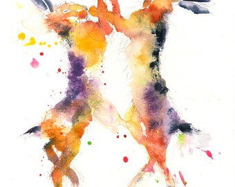 Hare animal art, LIMITED edition PRINT 0f painting  Boxing Hares  .(h3) hand signed, illustration,  rabbit art