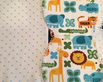 SMALL BUNDLE! Oversized receiving blanket and 2 burp cloths, baby boy, baby girl, polka dots, animals, lion, giraffe, elephant, shower gift