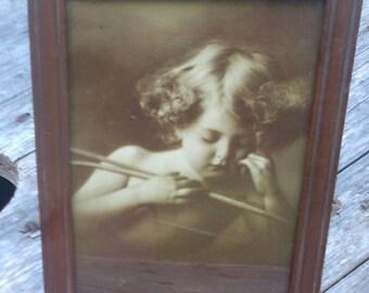 Vintage Cupid Asleep 1879 M. B. Parkinson print, vintage lithograph, antique art, vintage home décor, vintage wall art, Sepia tone print B&W