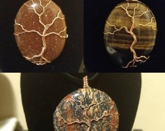 Copper wire wrapped gemstone tree of life pendants / goldstone / tiger's eye / Jasper