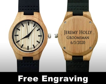 Engraved Watch, Groomsman Gifts, Wedding Gift, Wood Watch, Engraved Wood Watch, Wooden Watch, Black Leather Strap, Personalized Gift