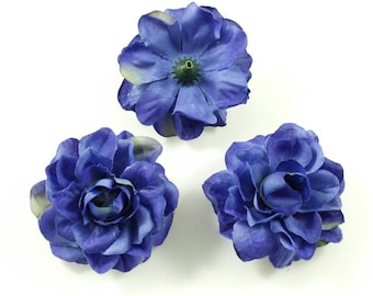 Set of 3 artificial flowers without stem 5.5 cm - Blue