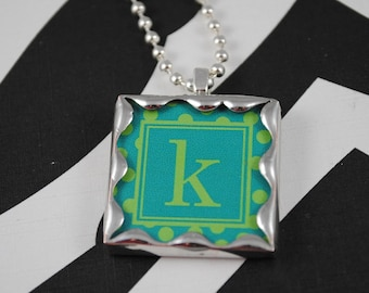 Personalized Initial Pendant Letter Necklace Soldered Glass Charm