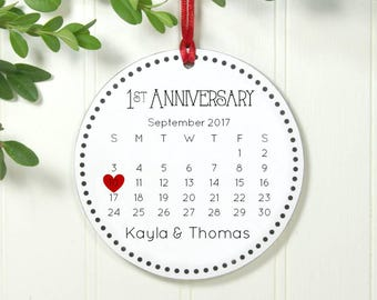 Anniversary Gift 1st Anniversary, 1 Year Anniversary, One Year Anniversary Christmas Ornament 2018, Couples First 2018 Calendar