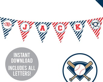 INSTANT DOWNLOAD Baseball Party - DIY printable pennant banner - Includes all letters, plus ages 1-18