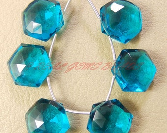 10 Pieces, Paraiba Blue Quartz Faceted Star Shape Briolettes, 12 MM Size, Loose Gemstone Star Beads, AAA Grade High Quality