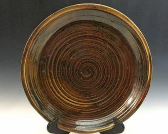 Brown Platter - Serving Platter - Handmade Platter - Centerpiece - Rustic Platter - Wood Fired - Handmade Pottery