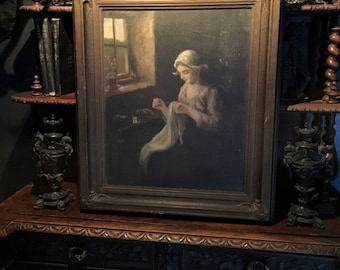 Antique Oil Painting Old World Portrait on Canvas  (LOCAL PICK up ONLY)